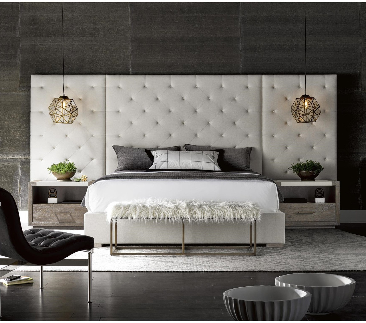 Modern Box-tufted Extended Headboard Fabric Platform Bed - King Zin Home