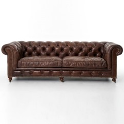 Tindall 96 Leather Sofa Billig Chaiselong Conrad Quot Vintage Cigar Chesterfield Zin Home