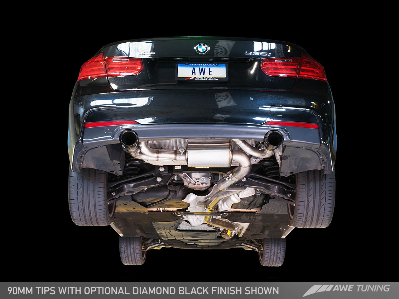 awe tuning touring edition axle back exhaust diamond black tips 90mm for bmw f3x 335i 435i
