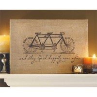 "Tandem Bicycle ""They Lived Happily"" Jute Wall Art - Unique ..."
