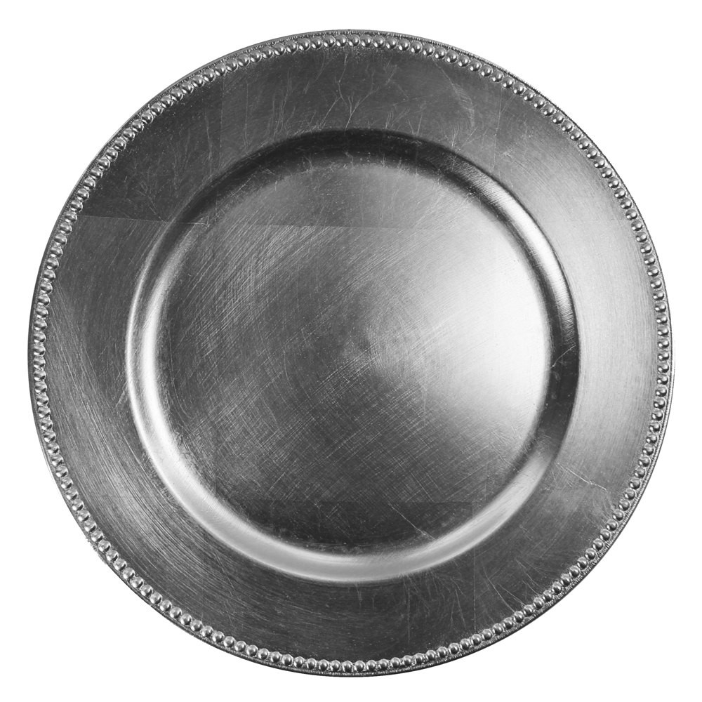 Case Of 24 Silver Beaded Charger Plates 2.75 Pc