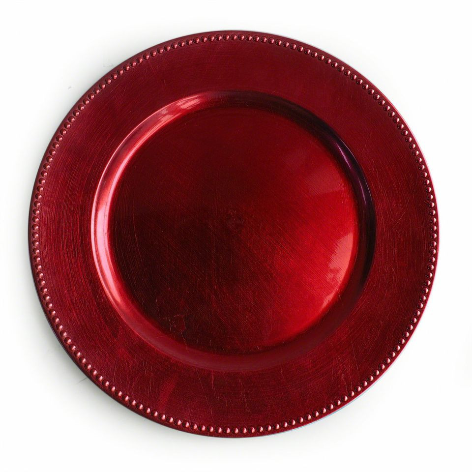 Case Of 24 Red Beaded Charger Plates 2.75 Pc