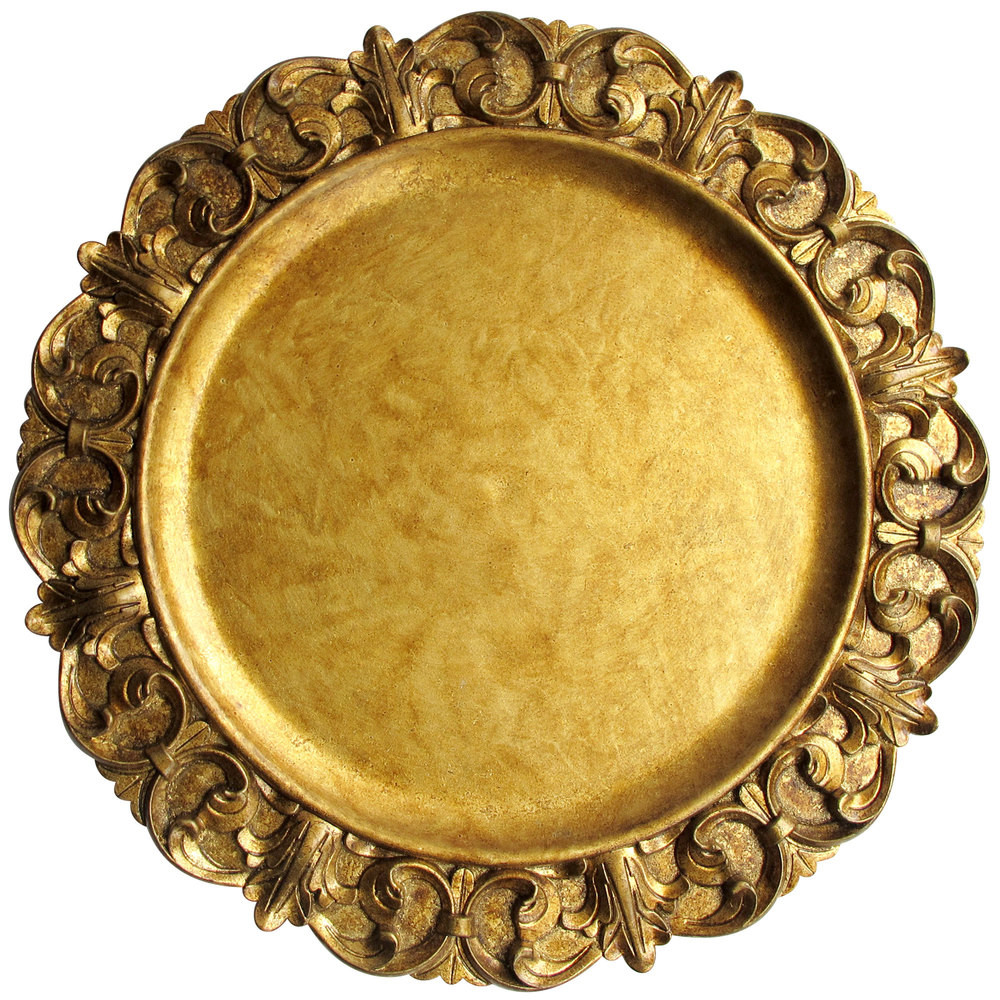 """Case Of 12 Gold Emboss 14"""" Charger Plates 13.95"""