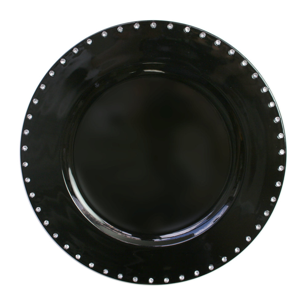 "Case Of 24 Black Jeweled Rim 13"" Charger Plates 5"