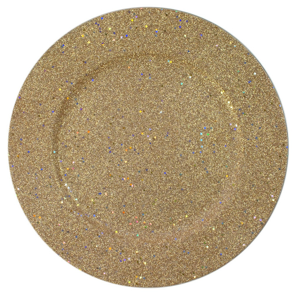 "Case Of 24 Gold Glitter 12.75"" Charger Plates 5"