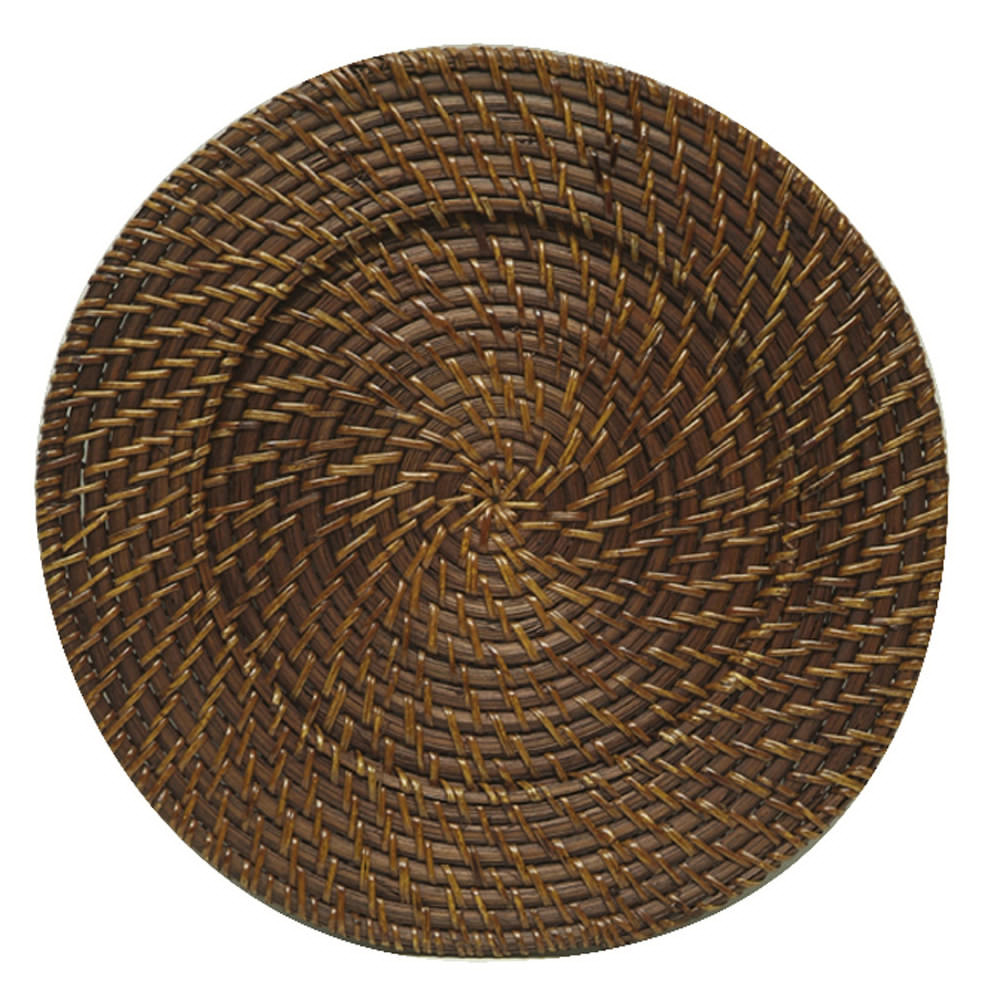 "Case Of 8 Chestnut Rattan 13"" Charger Plates 7.95"
