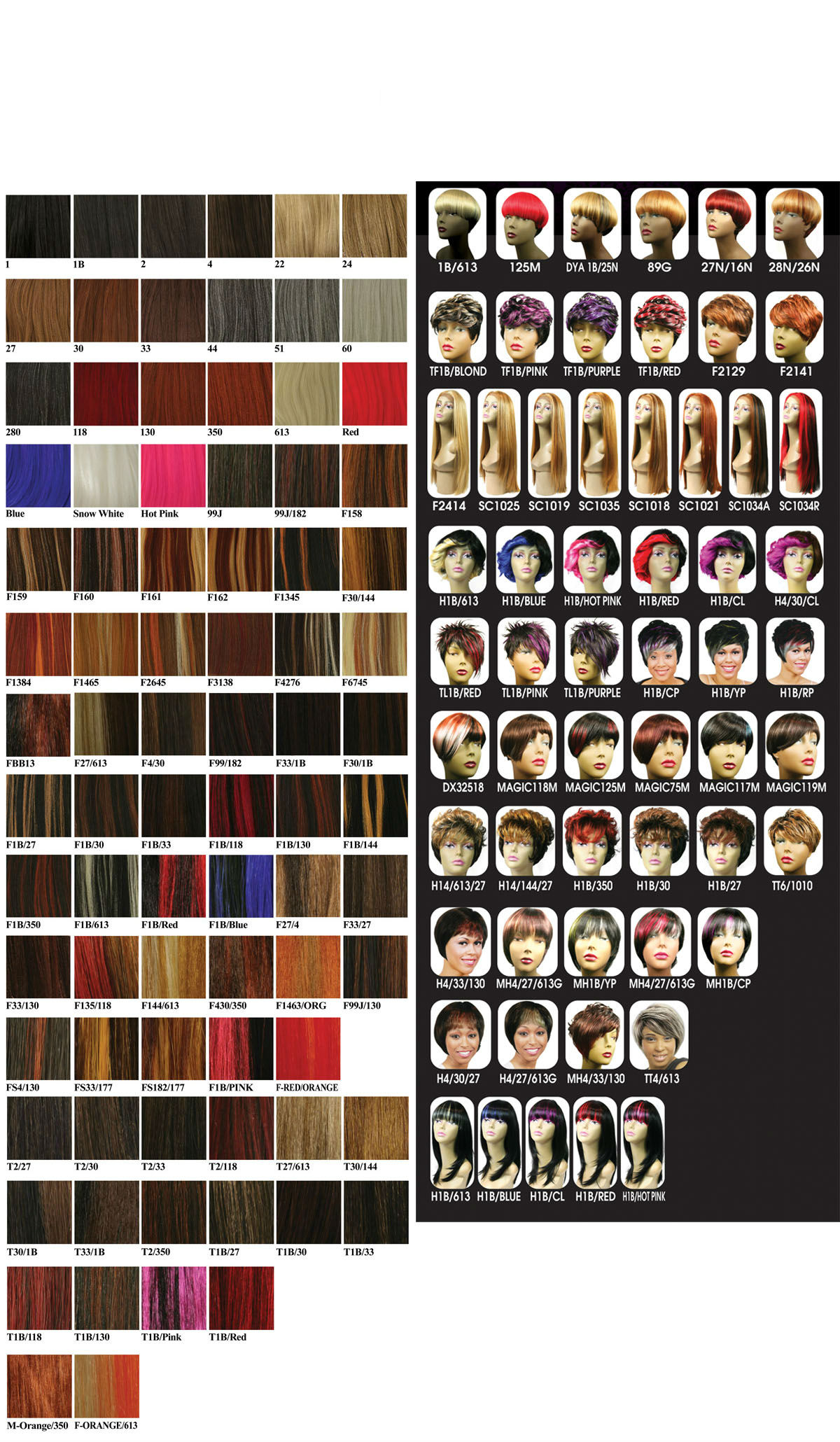 Hair Color Chart Hair Extensions Color Choise Wig