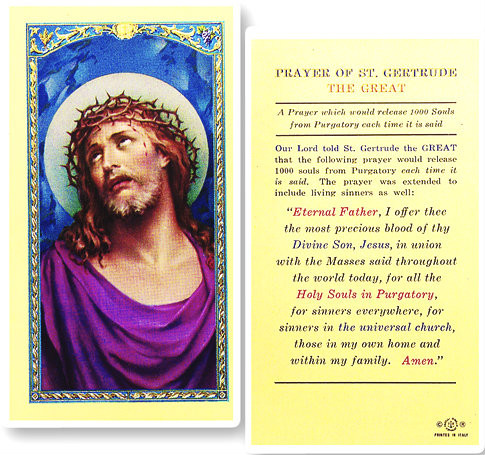 St Gertrude Prayer For Souls In Purgatory Laminated