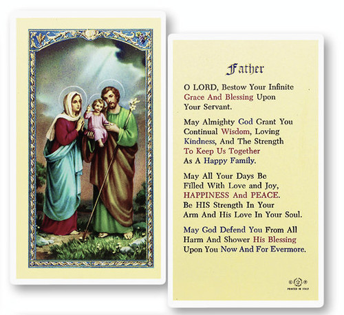 Holy Family Prayer For Father Laminated Holy Card St