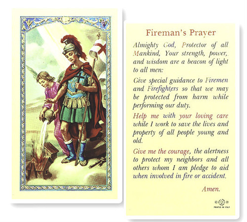 Firefighters Prayer Saint Florian Laminated Holy Card