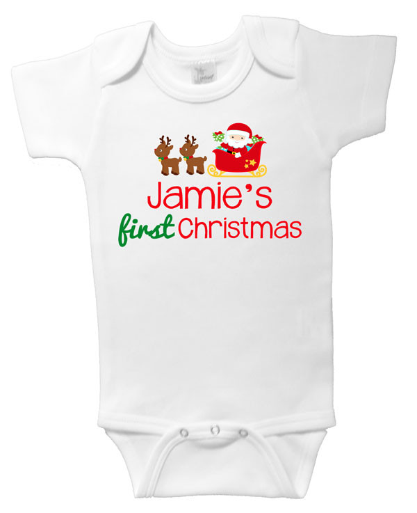 Baby Name First Christmas Onesie Personalised Baby
