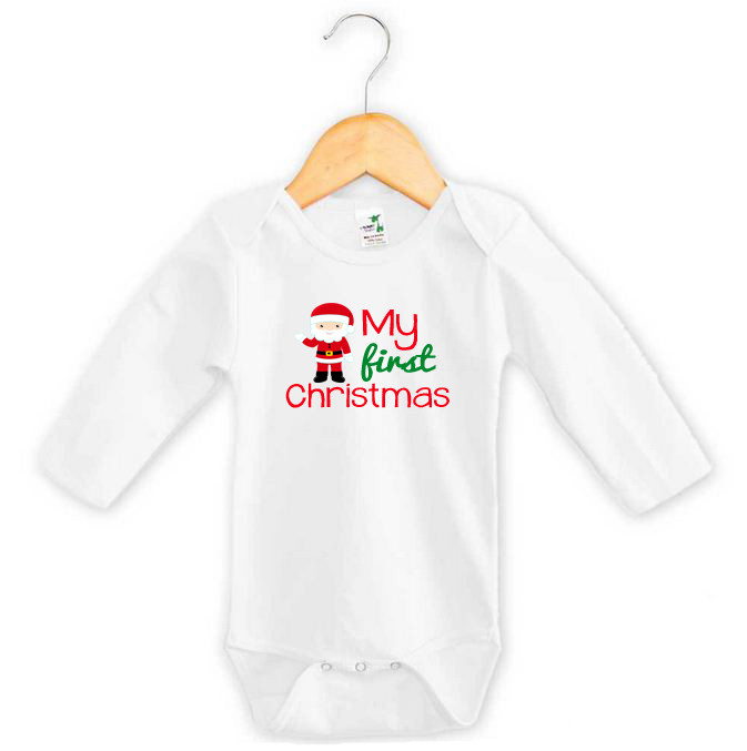 My First Christmas Santa Onesie Custom Made Baby