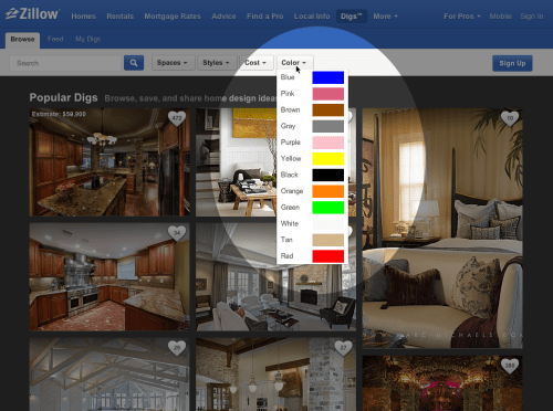 Zillow Digs Color Web - filters