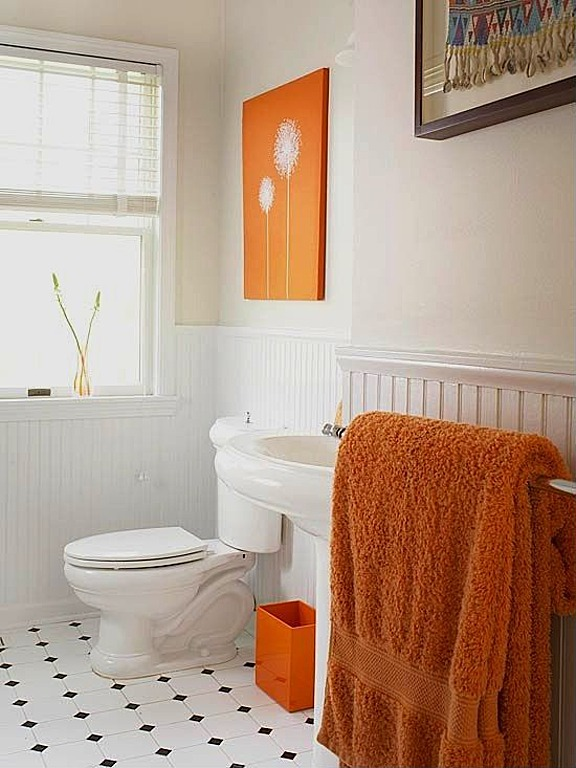 orange and white bath