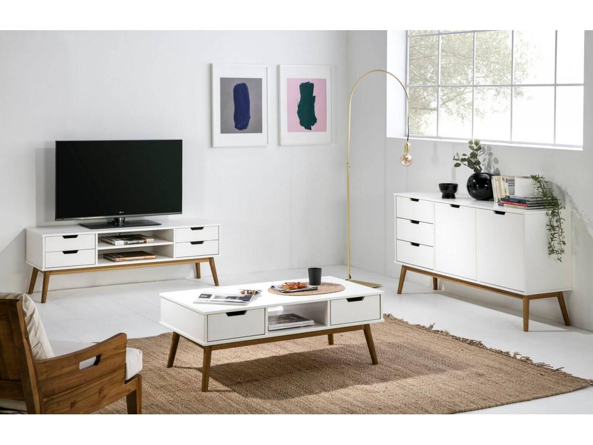 meuble tv 140 cm alma blanc et bois clair