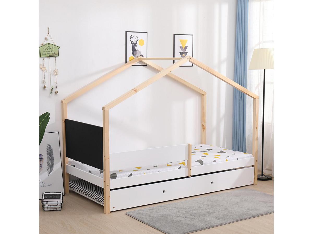 lit cabane 90x190 woody bois clair et blanc avec tableau ardoise