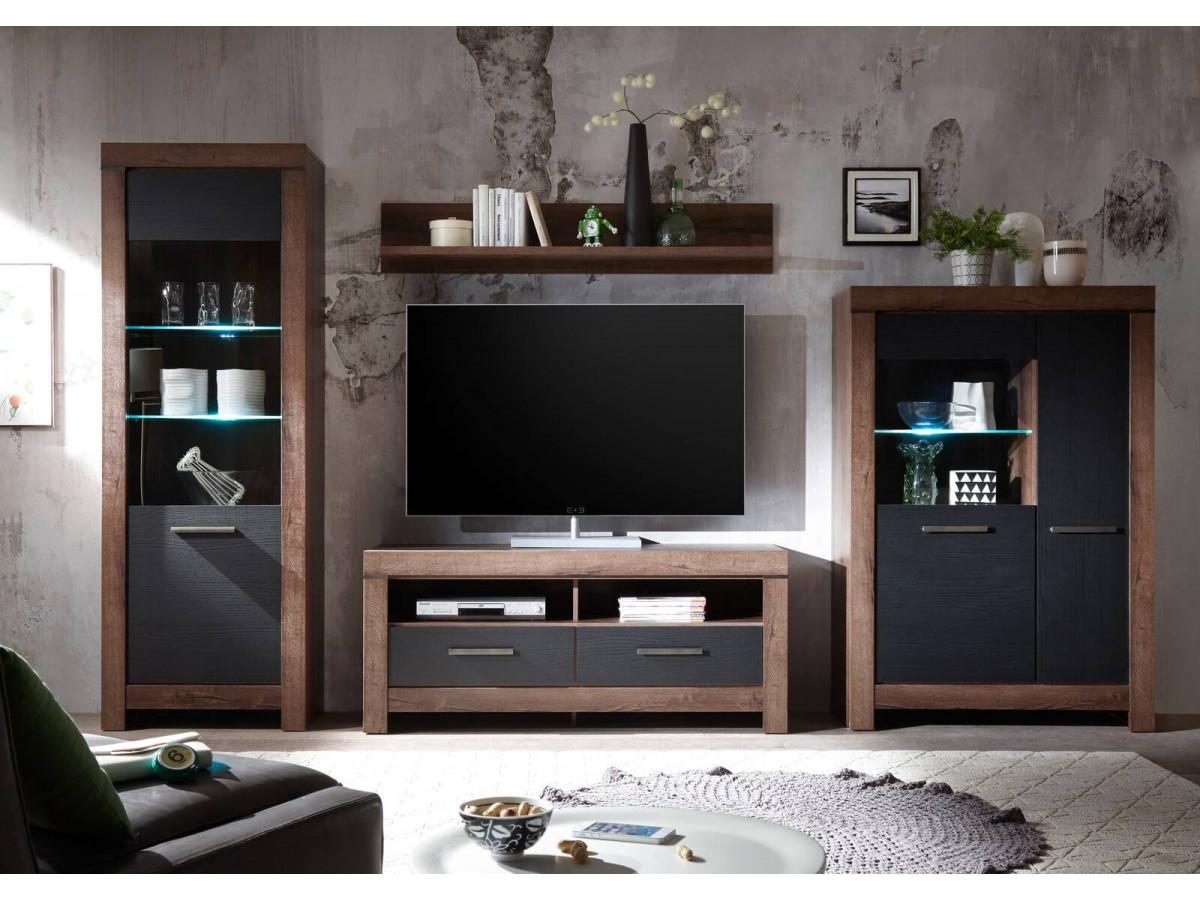 meuble tv kito chene fonce et chene noir