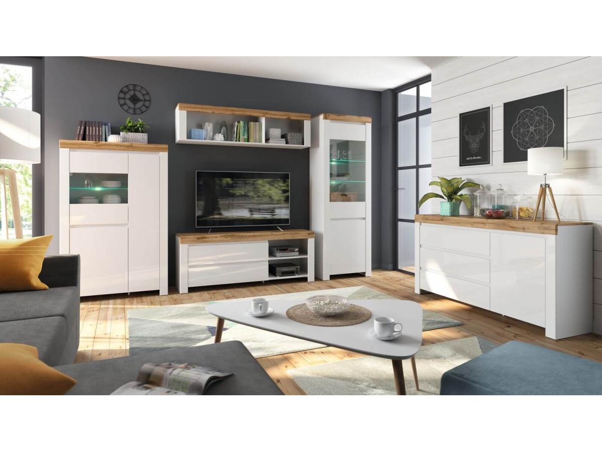 meuble tv 156 cm tilas chene et blanc brillant