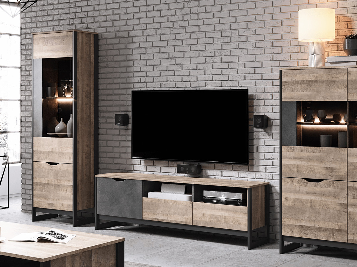 meuble tele 161 cm ardensia chene vieilli et graphite bobochic