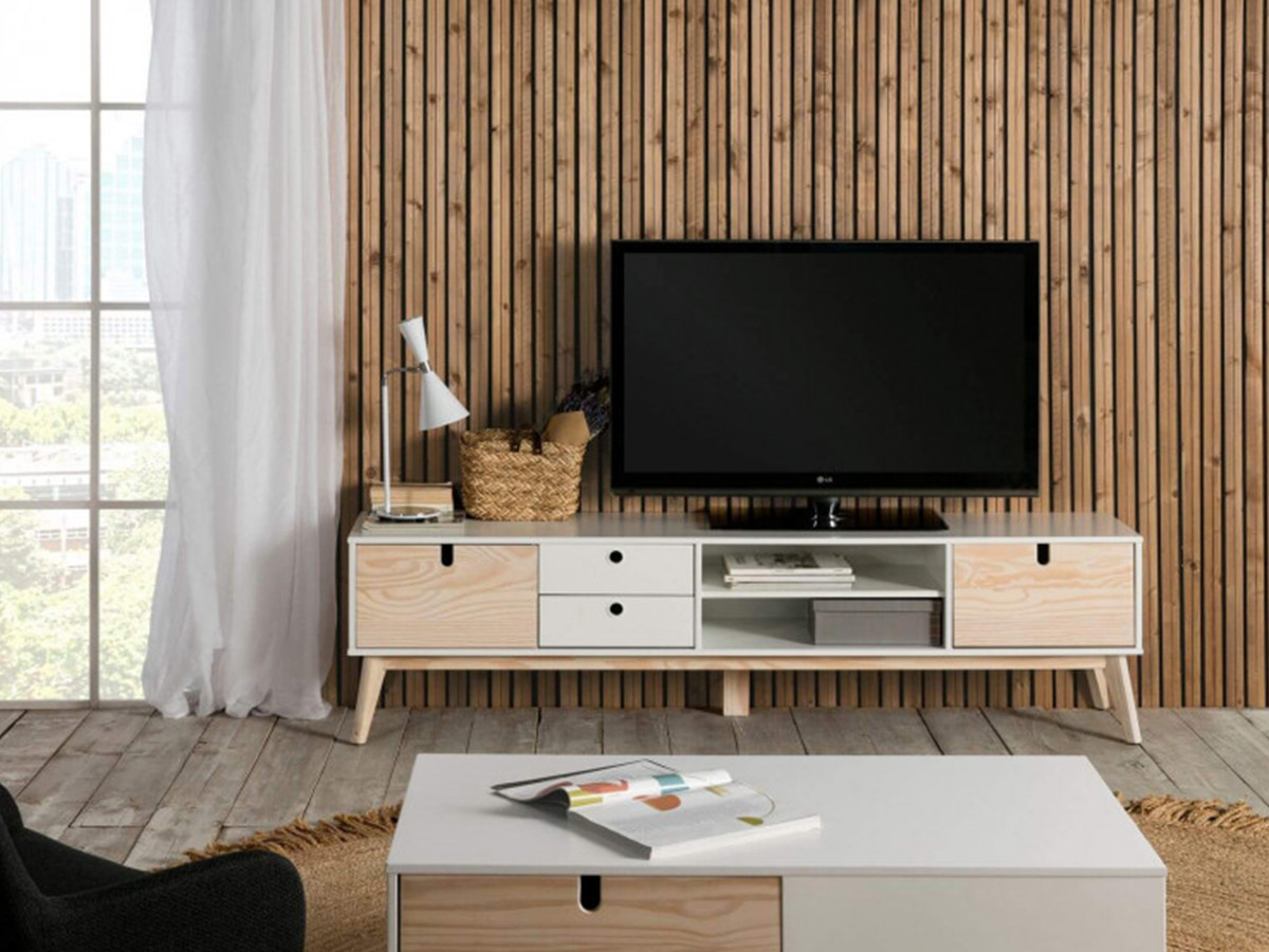 meuble tv 180 cm yugo blanc et bois clair bobochic