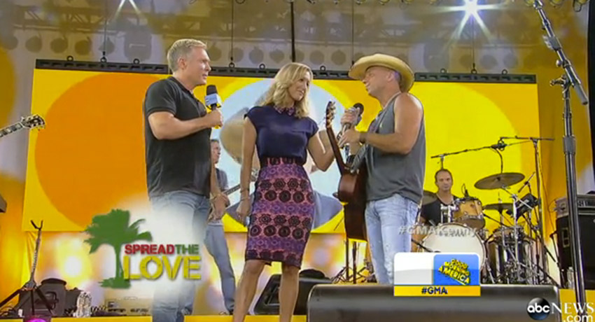 Kenny Chesney talking about the Spread the Love Fund and Boston Medical Center on Good Morning America. Screenshot via abc.com