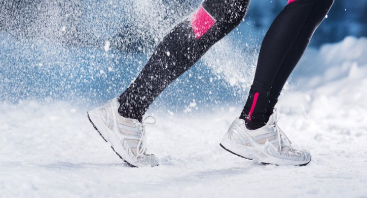 Winter Wardrobe Essentials Running in the Snow with White Winter Running Shoes