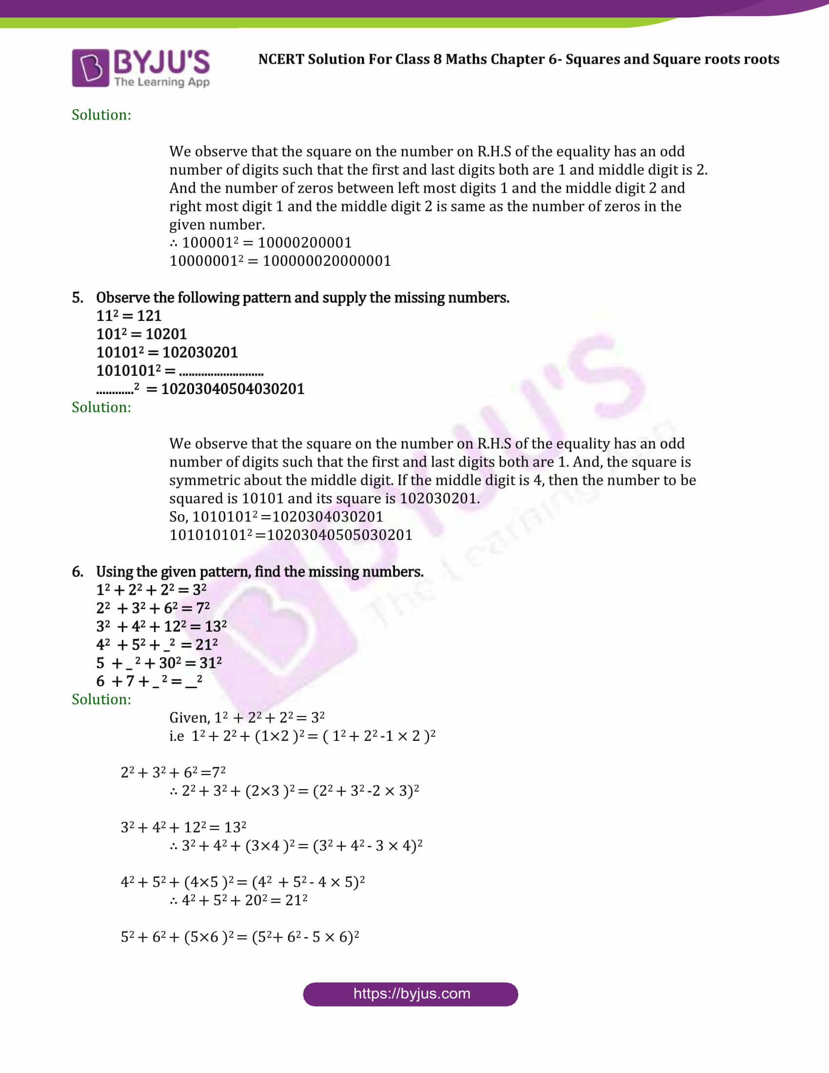 Ncert Solutions Class 8 Maths Chapter 6 Square Square