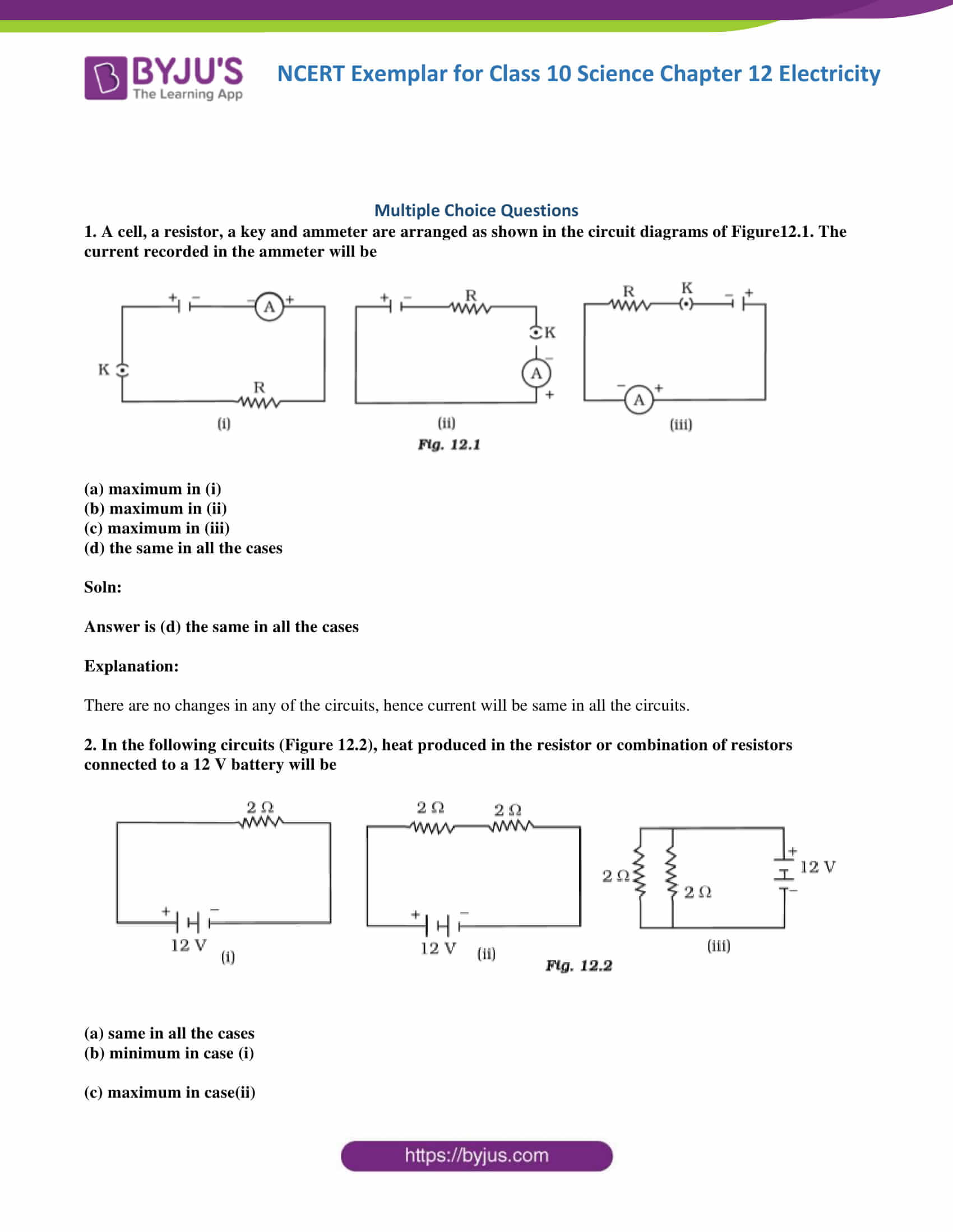 Classnotes Electricity Chapter Class 10 Notes Cbse