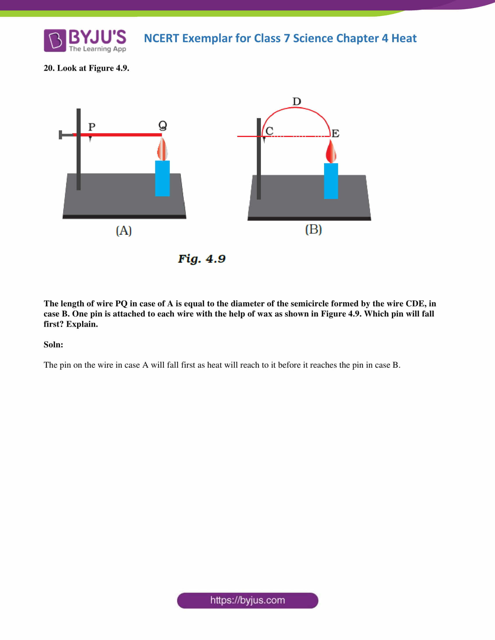 hight resolution of NCERT Exemplar solutions for Class 7 Science Chapter 4 - Heat