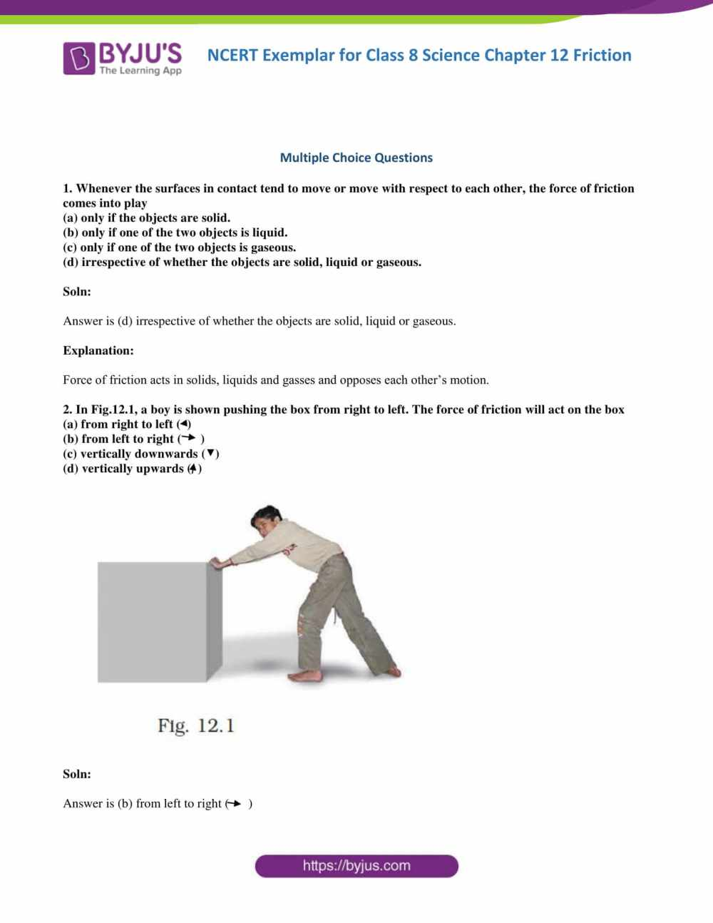 medium resolution of NCERT Exemplar Class 8 Science Solutions Chapter 12 - Friction   Download  Free PDF
