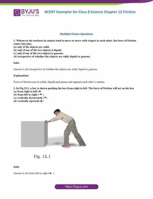 small resolution of NCERT Exemplar Class 8 Science Solutions Chapter 12 - Friction   Download  Free PDF