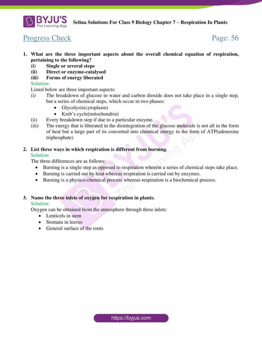 medium resolution of Selina Solutions Class 9 Concise Biology Chapter 7 Respiration in Plants  -Download Free PDF