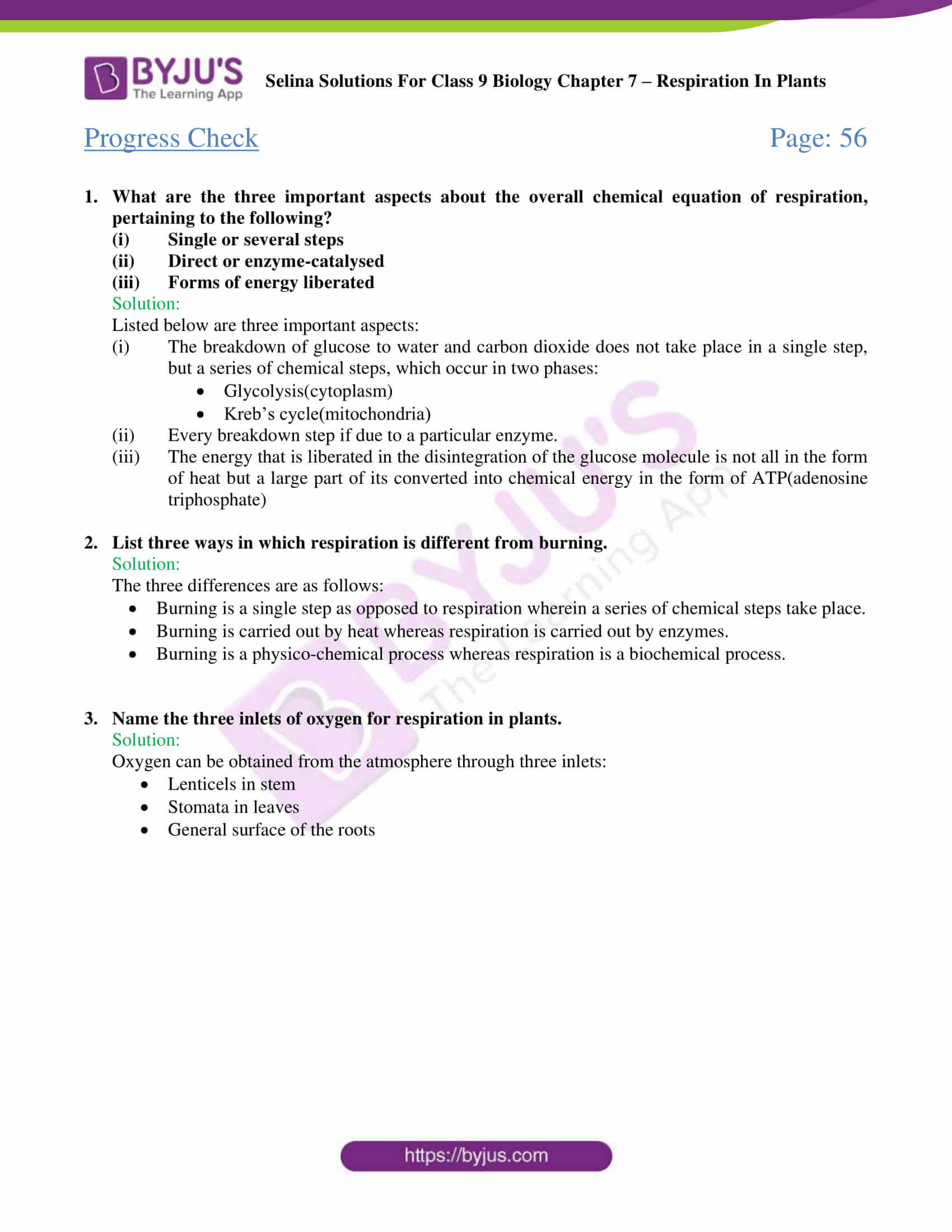 hight resolution of Selina Solutions Class 9 Concise Biology Chapter 7 Respiration in Plants  -Download Free PDF