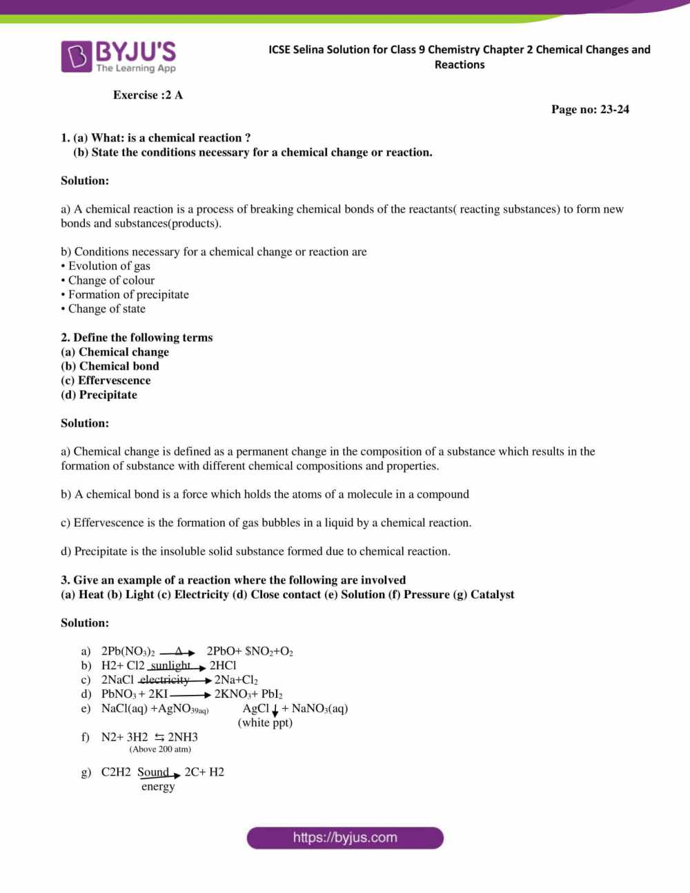 medium resolution of Selina Solutions Class 9 Concise Chemistry Chapter 2 Chemical Changes And  Reaction -Download Free PDF