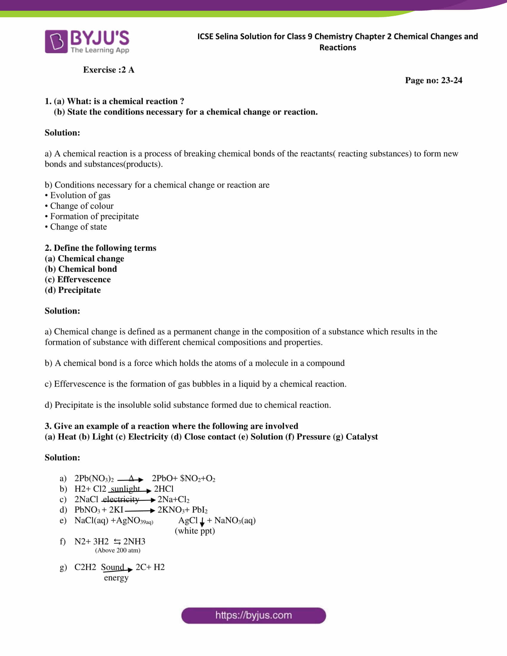 hight resolution of Selina Solutions Class 9 Concise Chemistry Chapter 2 Chemical Changes And  Reaction -Download Free PDF