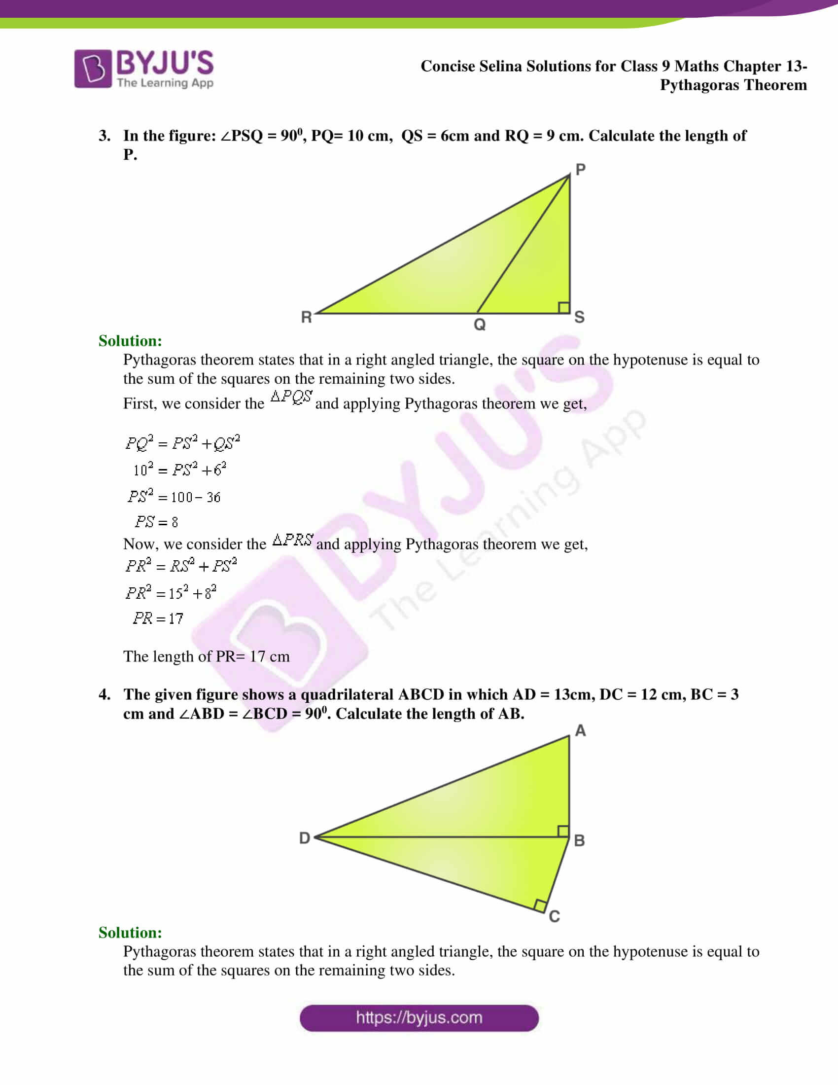 hight resolution of Selina Solutions Class 9 Concise Maths Chapter 13 Pythagoras Theorem  -Download Free PDF