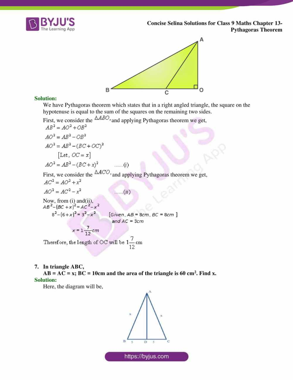 medium resolution of Selina Solutions Class 9 Concise Maths Chapter 13 Pythagoras Theorem  -Download Free PDF