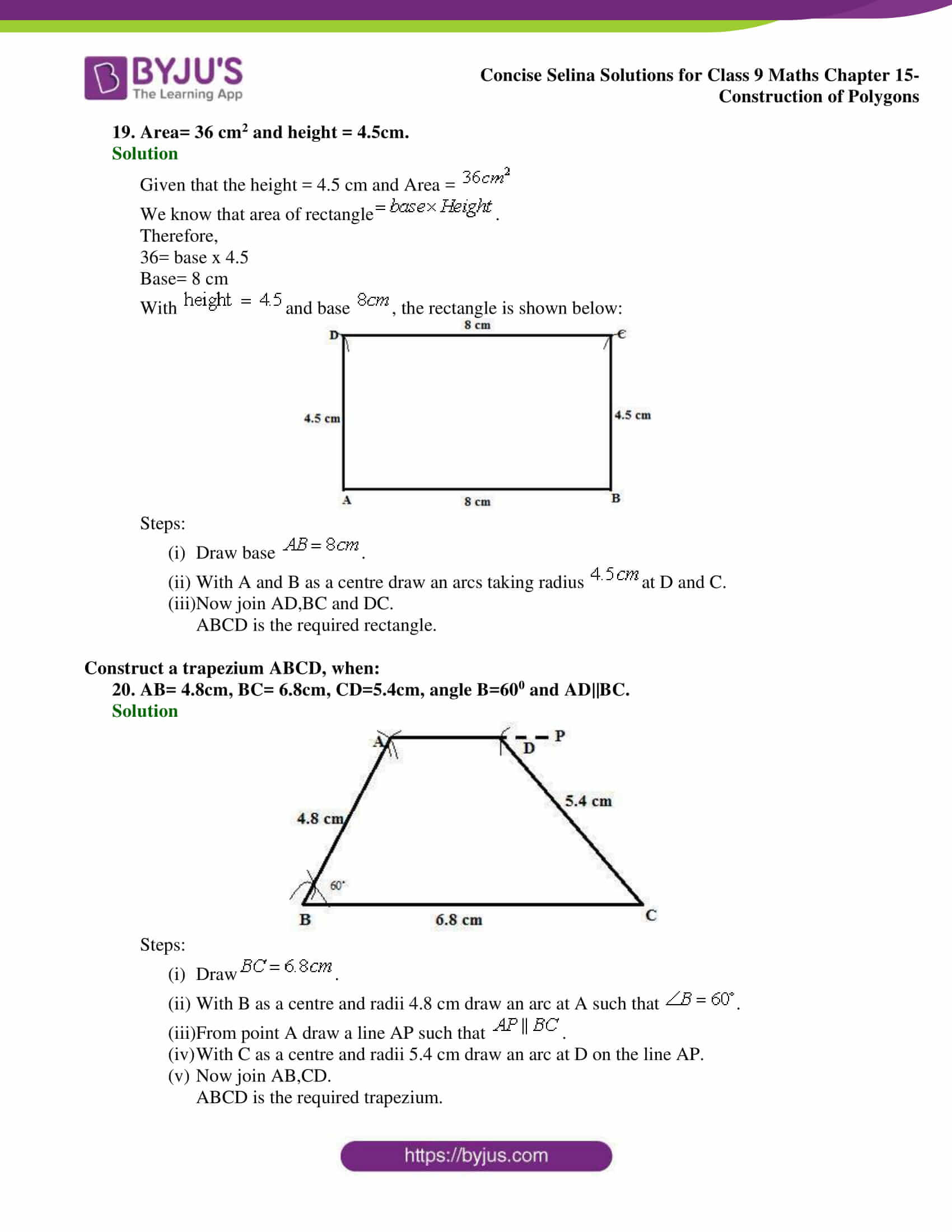 hight resolution of Selina Solutions Class 9 Concise Maths Chapter 15 Construction of Polygons  -Download Free PDF