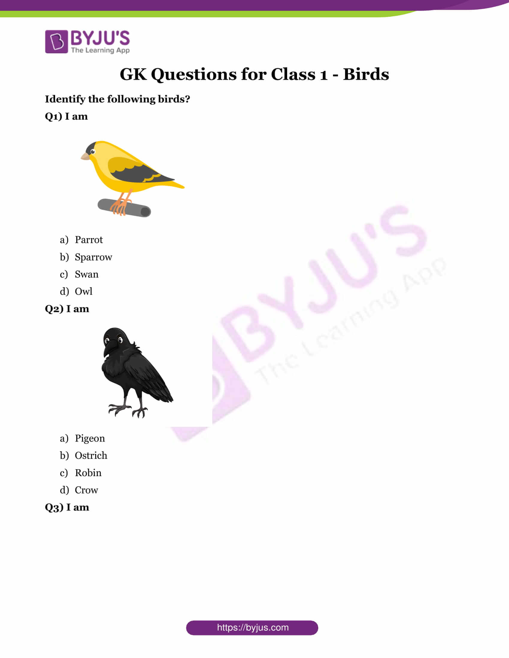 hight resolution of GK Questions on Birds With Answers for Class 1 - Download Printable PDF