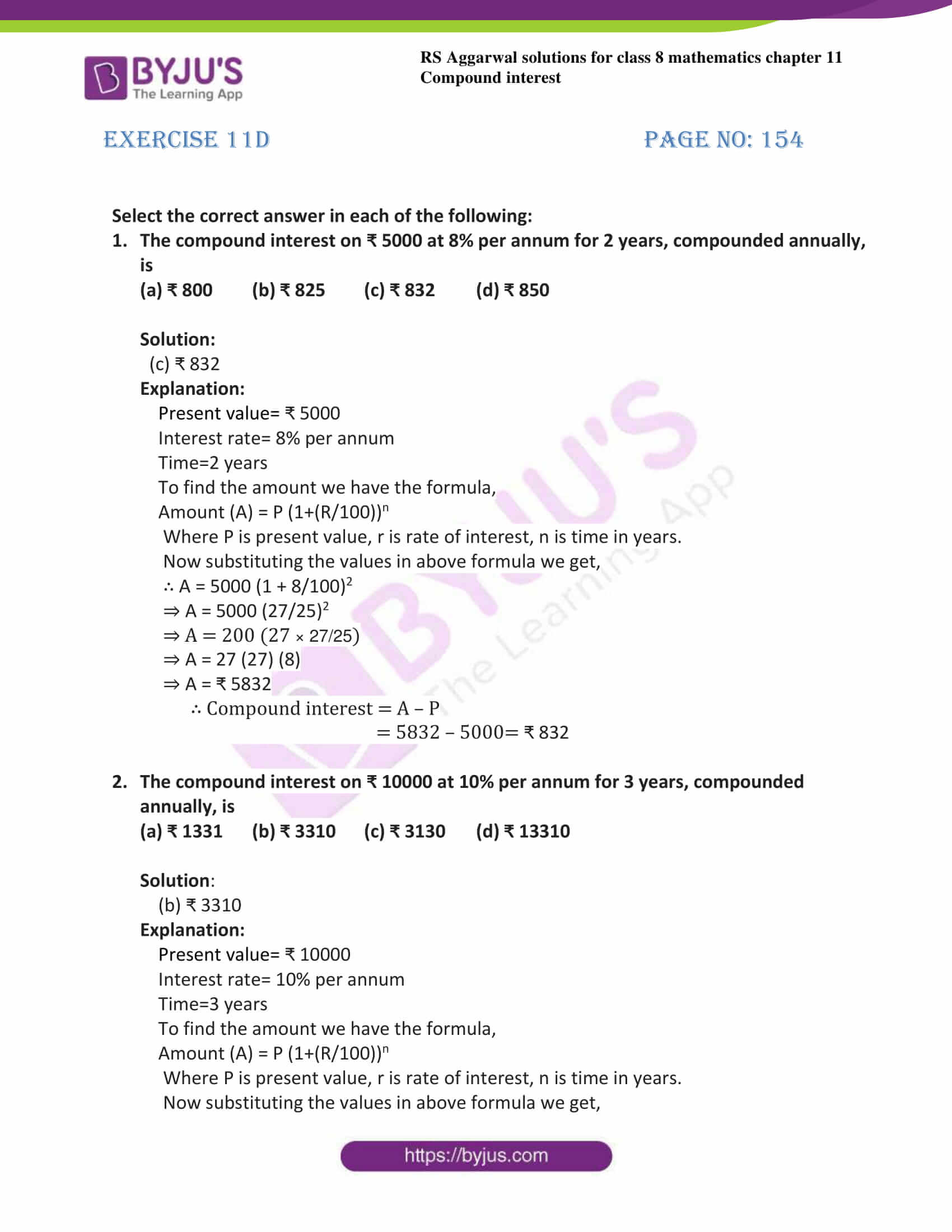 Rs Aggarwal Solutions For Class 8 Chapter 11