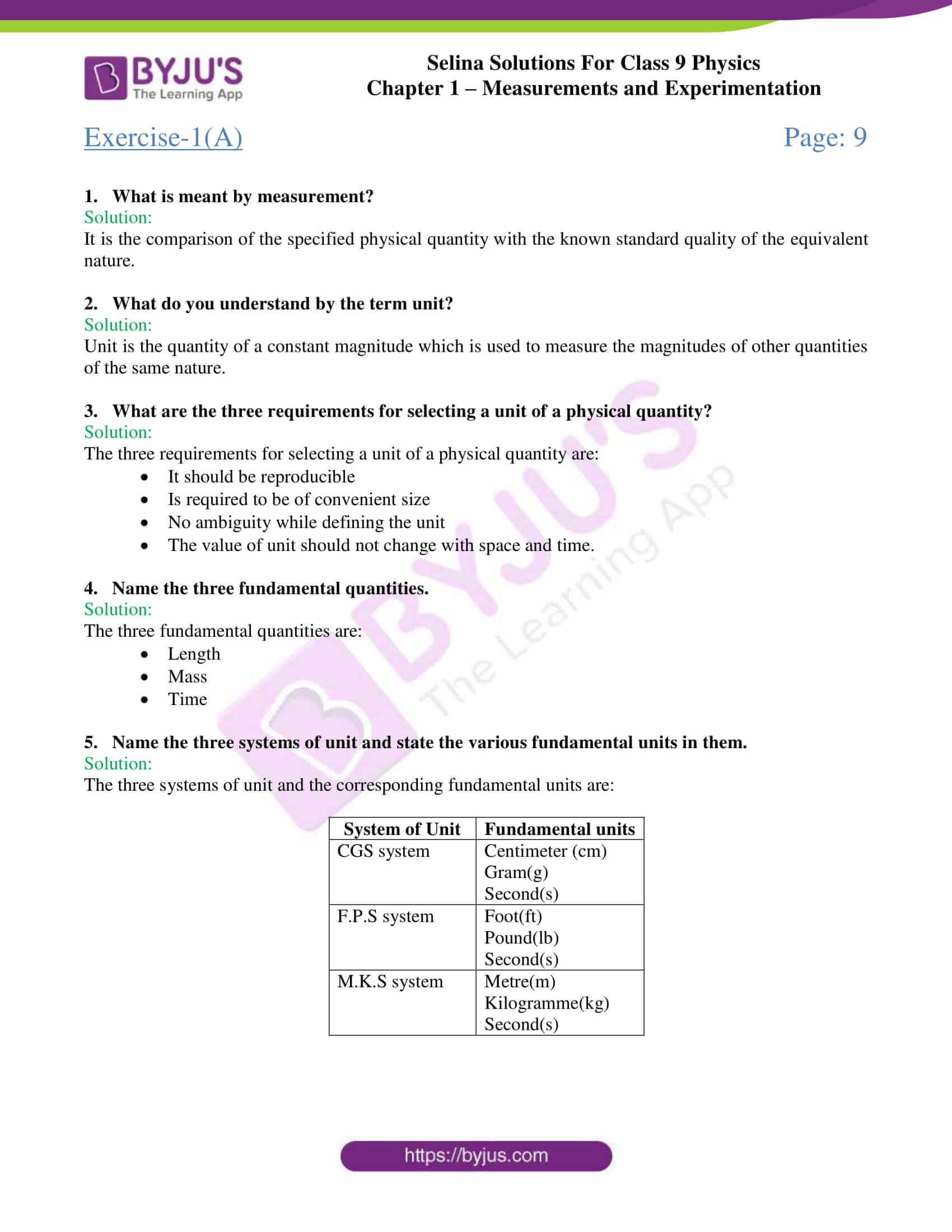 hight resolution of Selina Solutions Class 9 Concise Physics Chapter 1 Measurements And  Experimentation -Download Free PDF