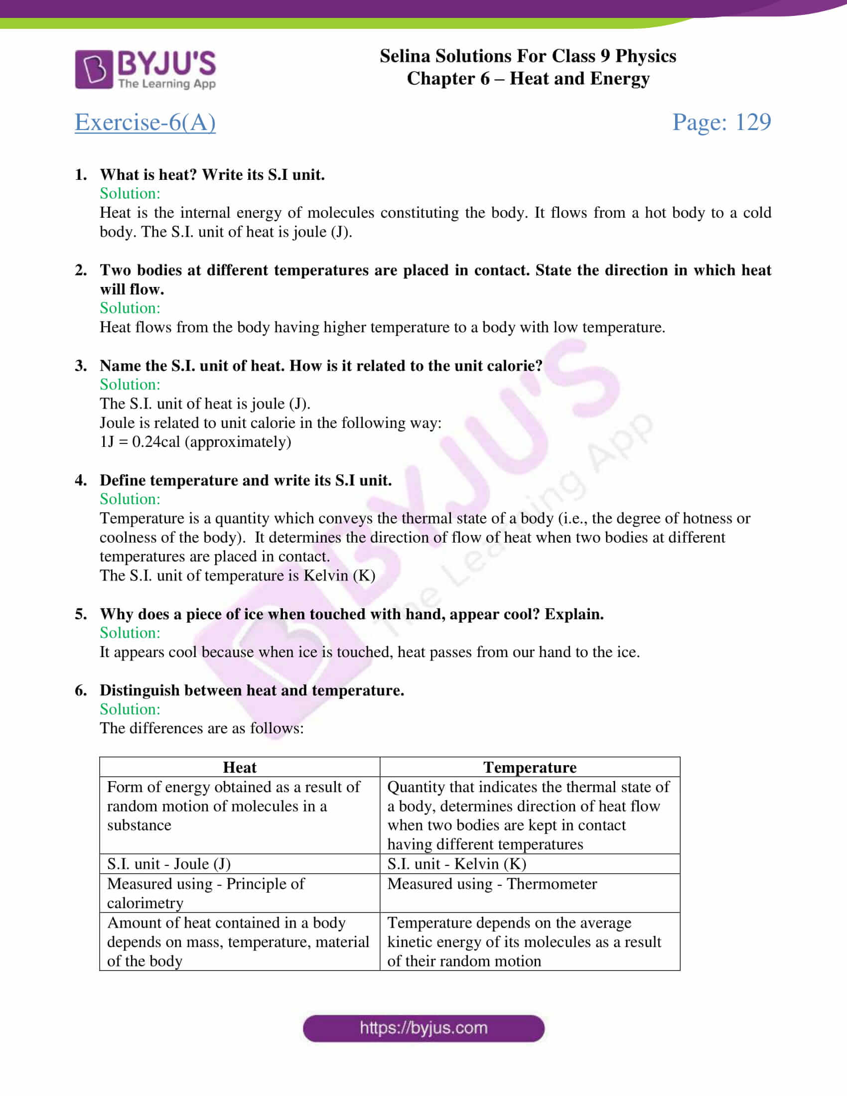 hight resolution of Selina Solutions Class 9 Concise Physics Chapter 6 Heat And Energy  -Download Free PDF