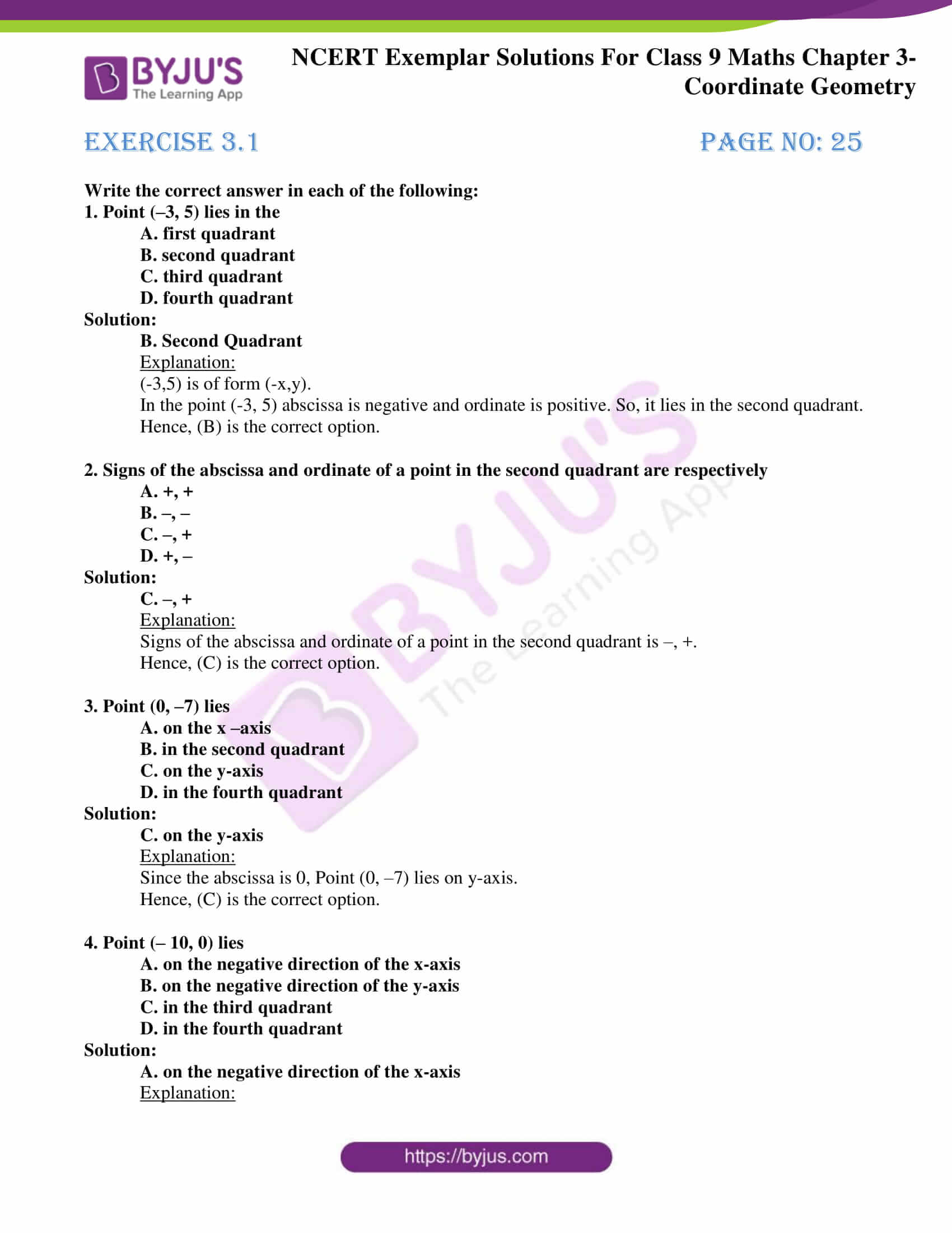 hight resolution of NCERT Exemplar Class 9 Maths Chapter 3 Solutions - Coordinate Geometry    Free PDF Download