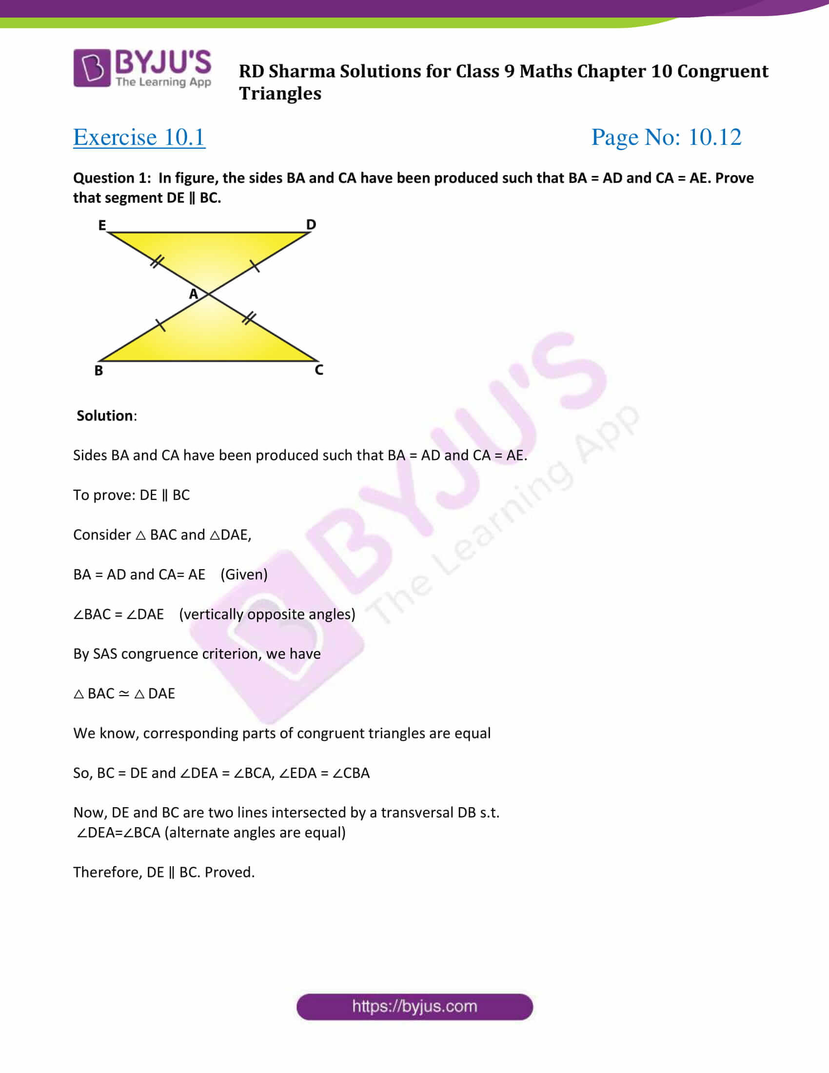 hight resolution of RD Sharma Solutions Class 9 Chapter 10 Congruent Triangles - Free PDF