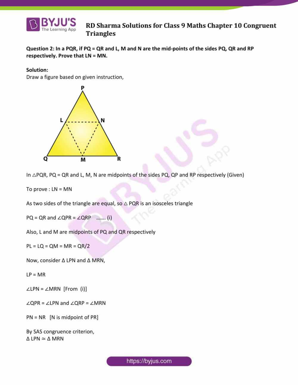 medium resolution of RD Sharma Solutions Class 9 Chapter 10 Congruent Triangles - Free PDF