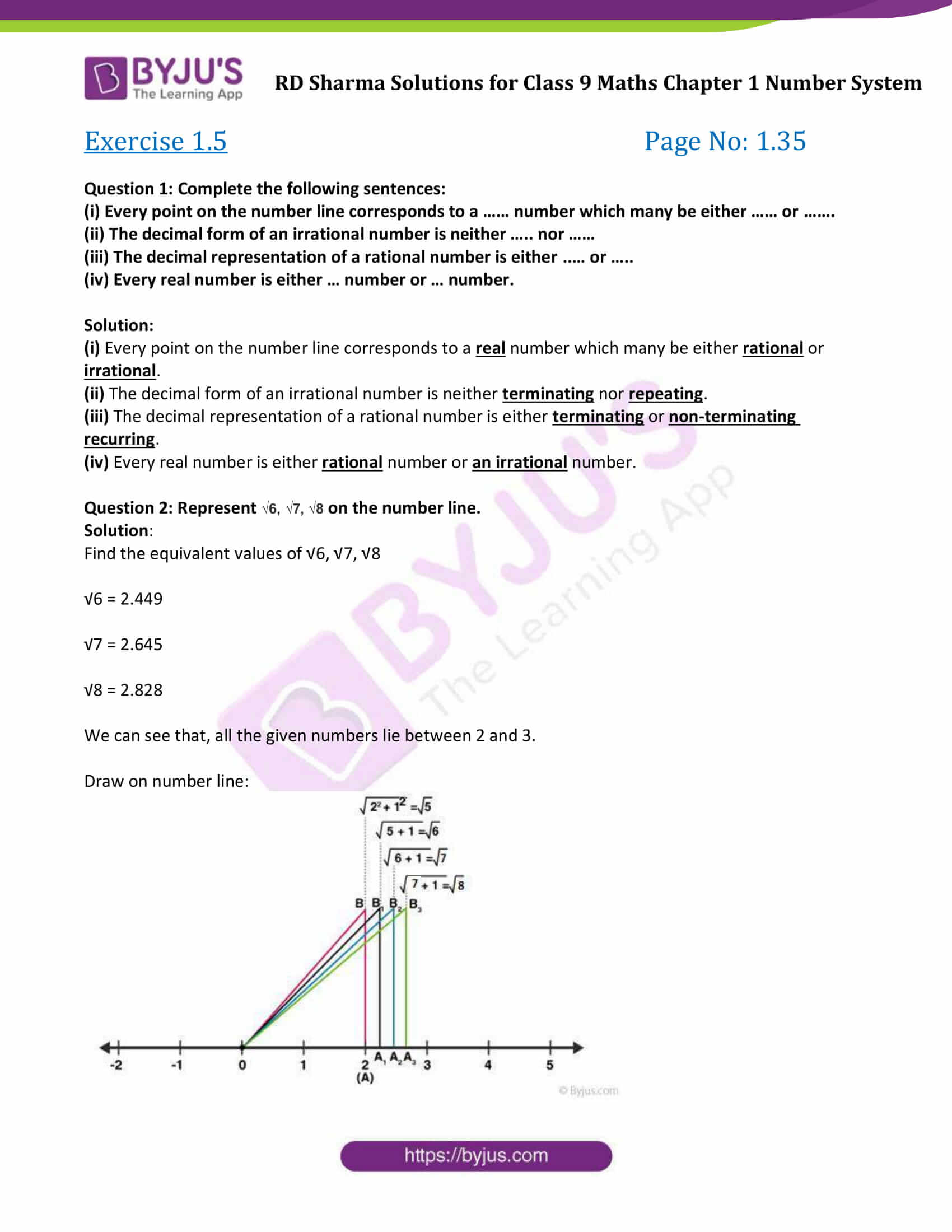 hight resolution of RD Sharma Exercise 1.5 Chapter 1 Class 9 Number System Solutions