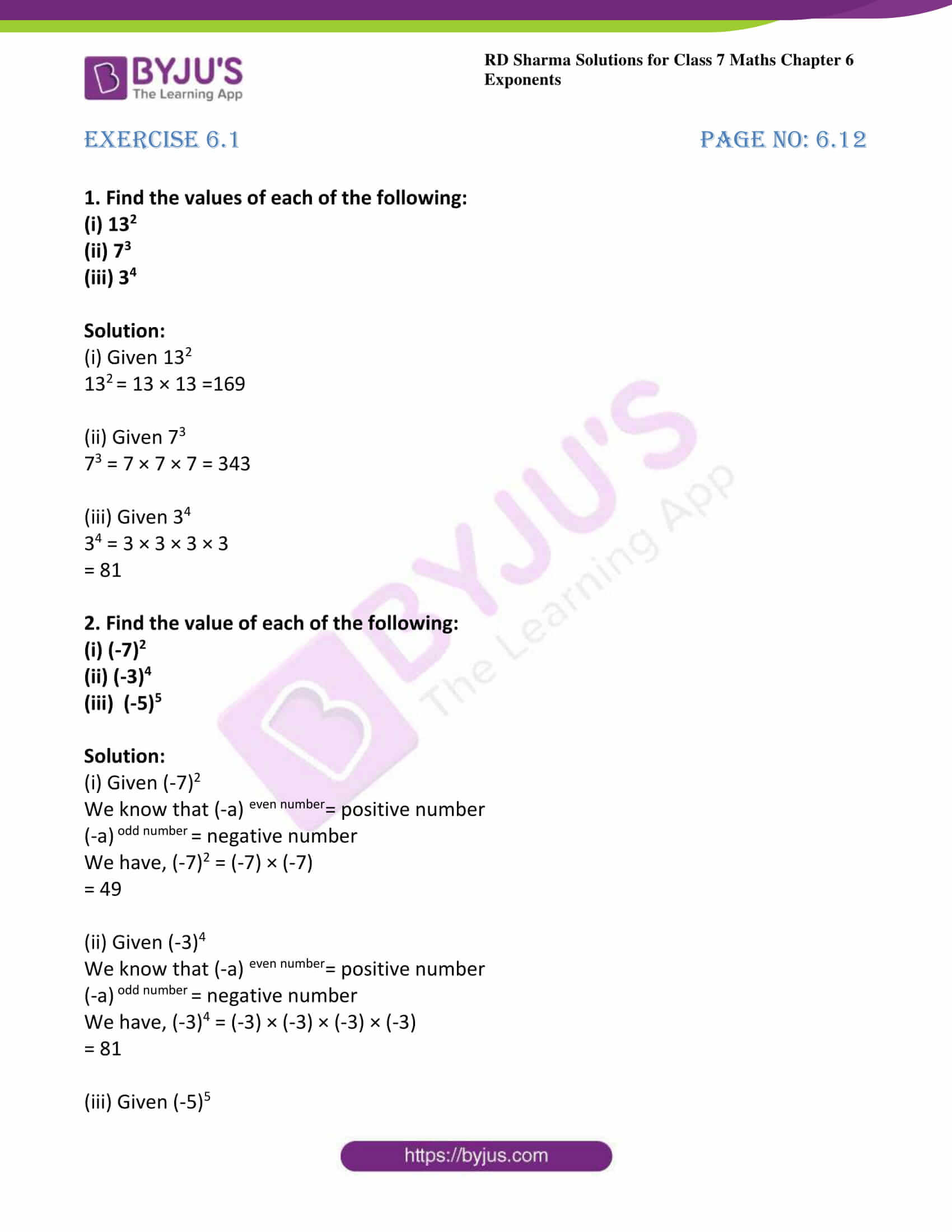 hight resolution of RD Sharma Solutions for Class 7 Maths Chapter 6 - Exponents - Download free  PDF