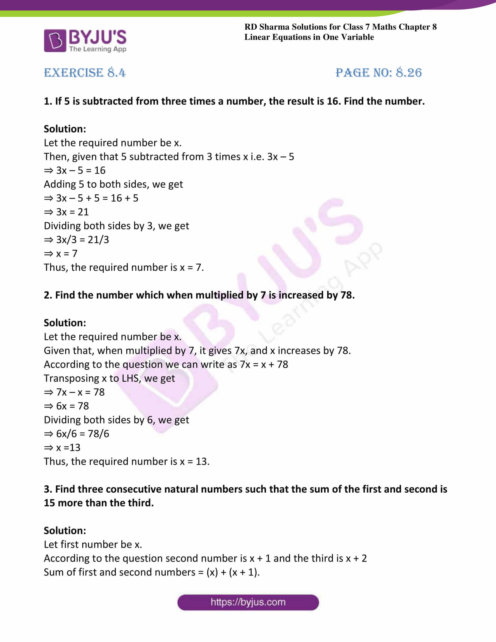 Worksheet On Linear Equations In One Variable For Class 8