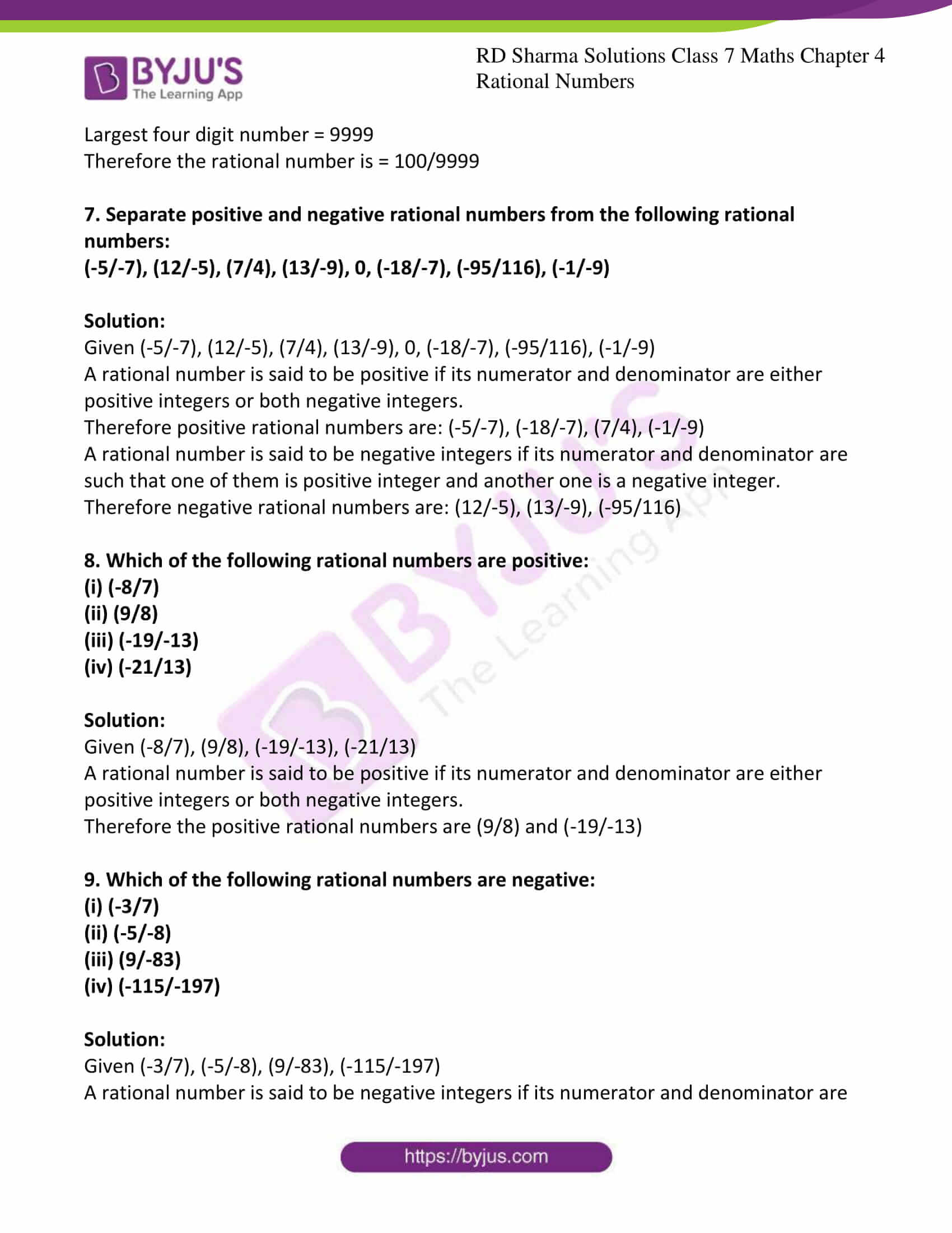 hight resolution of RD Sharma Solutions for Class 7 Maths Chapter 4 - Rational Numbers -  Download free PDF