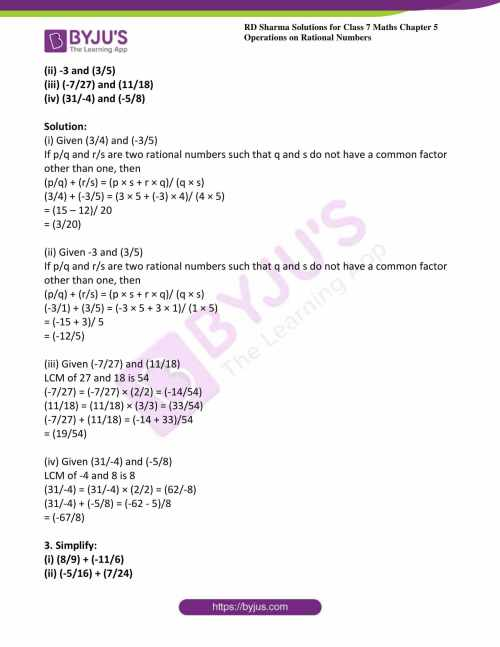 small resolution of RD Sharma Solutions for Class 7 Maths Chapter 5 - Operations On Rational  Numbers - Download free PDF
